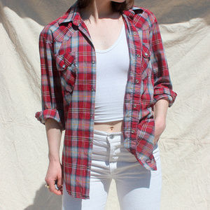 Vintage Red Plaid Button Down Shirt